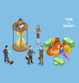 flat isometric concept of time is money vector image vector image