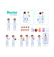 flat woman doctor animation creation set vector image vector image