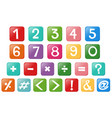 Font design for numbers and signs vector image