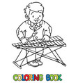 funny musician or xylophone player coloring book vector image vector image