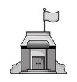 grayscale school education with roof and doors vector image