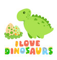 green cute dinosaur kawaii cartoon vector image vector image