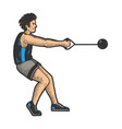hammer throw athlete sketch vector image