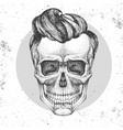 hand drawing hipster skull on grunge background vector image
