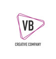 initial letter vb triangle design logo concept vector image vector image