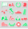 italy country theme various stickers set eps10 vector image vector image