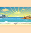 landscape-sunrise over the arab coast of the ocean vector image vector image