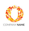 letter o logo with orange yellow red particles vector image vector image