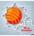 Merry christmas new year greeting card - paper cut vector image vector image