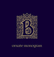 monogram with crown b vector image vector image