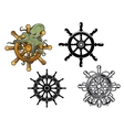 Octopus ans ship steering wheels vector image