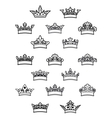 Ornated heraldic crowns set vector image vector image