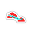 paper sticker on white background airplane takeoff vector image vector image