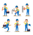 plumber cartoon character set vector image vector image