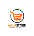 retail store logo design template shopping cart vector image