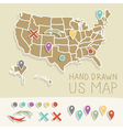 Retro handdrawn US map travel vector image vector image