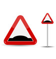 road sign warning sleeping policeman in red vector image vector image