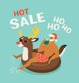 santa claus wearing a deer swim ring tropical vector image