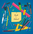 School supplies on colored background vector image