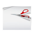 scissors with red plastic handles cutting white vector image vector image