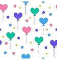 Seamless pattern with flying heart-shaped balloons vector image vector image
