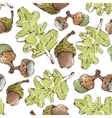 Seamless Pattern with Watercolor Oak leaves vector image