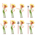 set of farmer icons vector image vector image