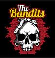 skull bandits hand drawingshirt designs biker vector image