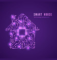smart house concept circuit home and cpu isolated vector image vector image