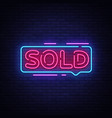sold neon text sold neon sign design vector image
