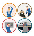 stewardess serves passengers on the airplane vector image vector image