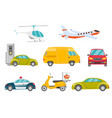 transportation vehicles set vector image vector image