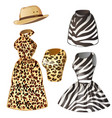 two dresses and hat - leopard zebra vector image vector image