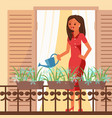 woman watering flowers in flat vector image