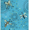 Butterflies and dragonflies on water vector image
