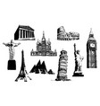 silhouettes of world sights vector image