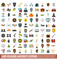 100 guard agency icons set flat style vector image vector image