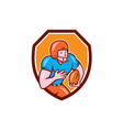 American Football Receiver Running Ball Shield vector image vector image