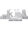 amsterdam architecture line skyline vector image vector image