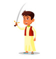 arab little boy in national clothes holding saber vector image