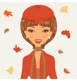 Beautiful young woman in autumn vector image vector image