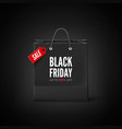 black friday banner black paper bag with tag sale vector image vector image