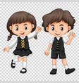 boy and girl with black hair vector image vector image