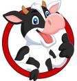 cartoon happy cow giving thumb up vector image vector image