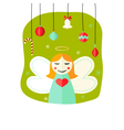 Christmas Angel Girl with Decorative Balls over vector image