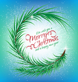 Christmas round frame of fir branch with text vector image