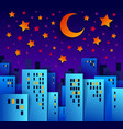 cityscape in the night with moon and stars vector image