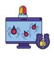 computer screen with spider and siren isolated vector image vector image