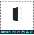 Door icon flat vector image vector image