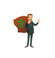 entrepreneur character with sack of money vector image